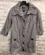 Mac & Jac Womens Sz 4 Long Rain Coat 3/4 Sleeves Gray