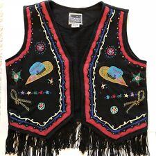 ImeIn Rodeo Fiesta Fringe Vest Womens Medium Black Hat Rope Applique Embroidery