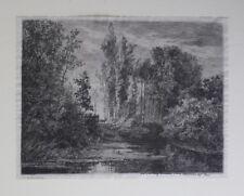 Charles-Francois Daubigny Auguste Delatre etching Les cerfs au bord de l'eau