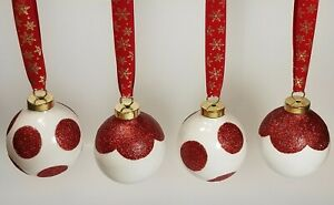 4 Red Glitter Porcelain Ball Ornaments in Gift Box ~ Polka Dots & Scalloped
