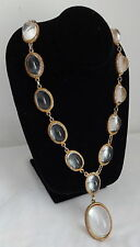 Art Deco Medieval Open Back Riviera Cabochon Jelly Belly Rhinestone Necklace