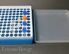 rack portaprovette x100 provette 1.5-1.8ml BLUE scatola centrifuga + coperchio