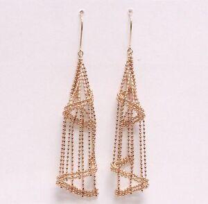 New 18k rose gold bird cage dangle hoop earrings 5.5g chandelier long beaded