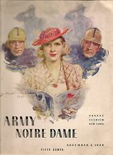 1940 Army-Notre Dame Program Cadets Give Irish a Scare NICE!!