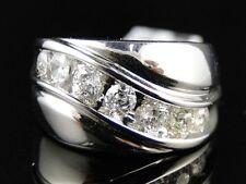 14K Mens White Gold 7 Stone Diamond 13Mm Wedding Anniversary Band Ring 1.0 Ct