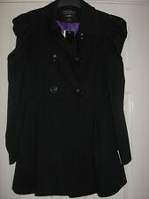 NEW WOMEN'S CLOTHES BLACK DOUBLE BREASTED JACKET COAT UK SIZE 12 BNWT