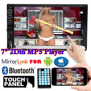 7''in Double DIN Car Stereo MP5 Head Unit Radio Mirror Link For GPS Navi Android
