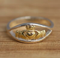 Solid 925 Sterling Silver and Gold Vermeil Claddagh Band Ring J-T Sizes Celtic