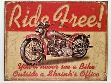 RIDE FREE - MOTORCYCLE - RETRO COLLECTIBLE TIN SIGN WALL DECOR