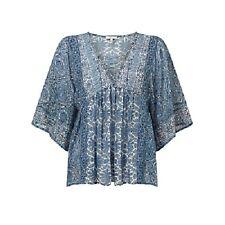 JOIE Scorpio Mix Print Lace-Up Silk Peasant Top, XSmall