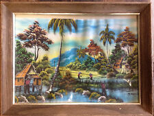 BRt Vintage South East Asian Tropical Village Painting Signed Wood Framed Glass