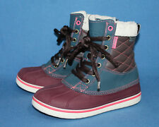 CROCS AllCast Duck Boots 16035 Wo's 5 Red Blue Brown Waterproof Lace Up
