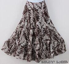 JNY Full A-Line Skirt Silk Linen Blend Leaf Print Gored Flare Hem Calf Length 8