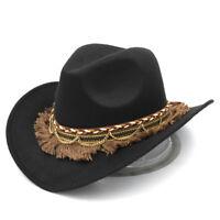 Women Western Cowboy Hat Cowgirl Costume Cap Wool Wide Brim Tassel Braided Band