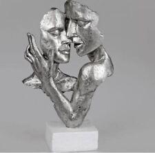 729255 Skulptur Büste Paar auf Sockel weiß silber aus Kunststein 19x32cm