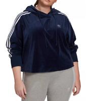 adidas Originals Hoodie Womens Plus 3X Authentic Velour Cropped Sweatshirt Blue