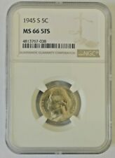 *RARE*  1945-S JEFFERSON NICKEL 5C NGC MS66 5FS - $675 VALUE