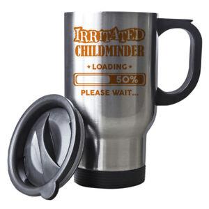 Orange Irritated Childminder Loading Funny Gift Idea Silver Travel Mug work 042
