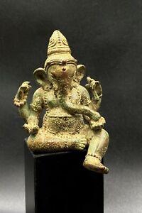 Antique Old South East Asian Art Ganesh Bronze Statue Figure