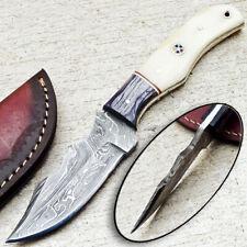 "CUSTOM HAND FORGED DAMASCUS STEEL 8.0"" SKINNING KNIFE - CAMEL BONE - WD-7074"