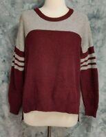Madewell Womens sz M Maroon Gray Striped Varsity Hi Lo Dolman Boxy Sweater