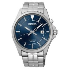 Seiko SKA581 Men's Blue Dial Kinetic Date Silver Tone Band Watch  $275 ~ NEW