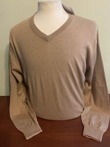 NWT Alashan Douglas Anthony Men's Large or XL Tan V neck cotton cashmere sweater