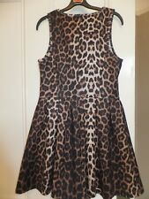 TOPSHOP BLACK BROWN LEOPARD ANIMAL PRINT PLEATED MINI DRESS UK 10 BNWOT