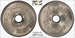 PALESTINE , 20 MILS 1927  PCGS MS 64 ( PAL. )  , RARE
