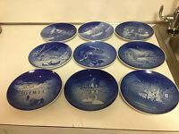 BING & GRONDAHL B&G CHRISTMAS PLATES FROM 1968-1976-  -9 TOTAL