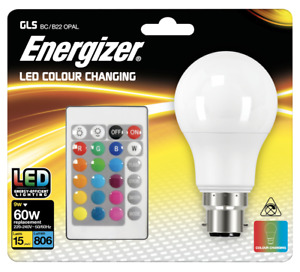 Energizer Colour Changing Light Bulb B22 GLS LED RGB+W with Remote Control