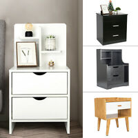 Nightstand Bedside Bedroom End Table Drawers Storage Wood Shelf Living Room