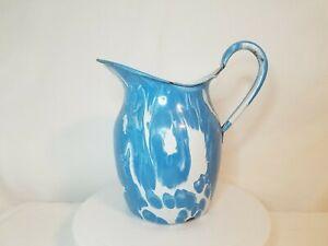 Vintage Blue & White Swirl Graniteware Enamelware Large Water or Milk Pitcher