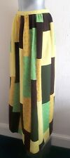 VINTAGE 70S COSMIC PATCH PATTERN YELLOW GREEN & BROWN HIPPY RETRO MAXI SKIRT 8