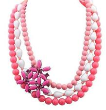 Hot Pink Three Strand chunky beaded necklace