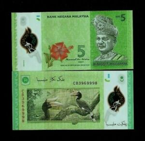 MALAYSIA 5 RINGGIT NEW 2012/2017 X 1 PCS POLYMER BIRD ORCHID UNC MONEY BANK NOTE