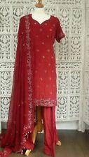 Dark red silk salwar kameez - UK Size 10/EU Size 36- Preloved SKU15226