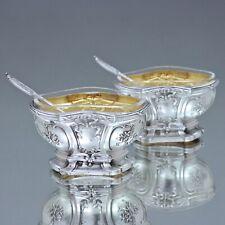 Paris um 1900: Paar Salieren im Louis XVI Stil, Silber, Salz, Salzfass, Saliera