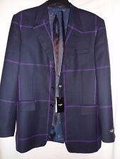 "Nuevo ""Paul Smith"" azul marino y púrpura 'Windowpane Chaqueta Blazer/' comprobar-tamaño 40"