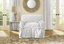 Matelasse Damask One Piece box cushion Chair Slipcover white