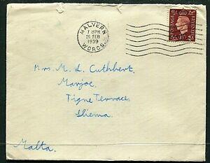 GB 1½d KGVI cover Malvern to Malta 26FEB1939