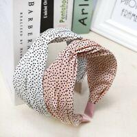 Women Headband Twist Hairband Dot Knot Cross Tie Wide Headwear Hair Band Hoop