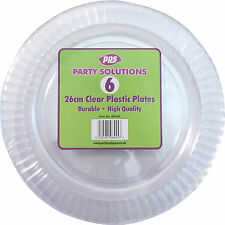 "6 x CLEAR ROUND PLASTIC DISPOSABLE PARTY PLATES 10"" 26cm STRONG DURABLE REUSABLE"