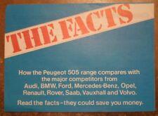 PEUGEOT 505 'THE FACTS'  orig 1980s UK Mkt Smaller Format Comparisons Brochure