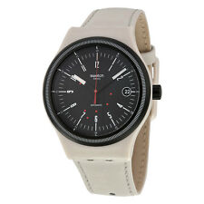 Swatch Sistem Automatic Black Dial Cream Leather Mens Watch SUTM400