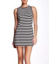 Trina by Trina Turk Anza Black Knit Jersey Striped Open-Back Dress Sz M $138