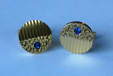 VINTAGE ROUND SAPPHIRE BLUE RHINESTONE CUFFLINK CUFF LINKS GOLD METAL 22mm