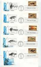 2545-49 Fishing Flies set of 5 Artmaster FDCs
