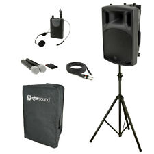 QTX QX12PA-PLUS Portable PA Deluxe Kit - UHF Handheld & Headset Mics, Stand, Bag