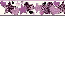 Diva Hearts & Stars Purple Young ladies Girls Room Wallpaper Border